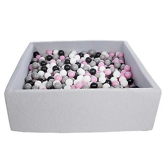 Square ball pit 120x120 cm with 900 balls black, white, light purple & grey