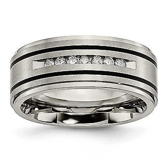 Titan, poliert, gebürstet emaillierten 1 / 4ct Tw. 9mm Band Diamantring - Ring-Größe: 8 bis 13