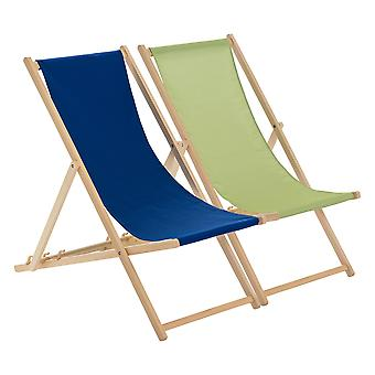 Traditional Adjustable Beach Garden Deck Chairs - Lime Green / Navy