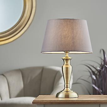 Lámpara de mesa antigua placa de latón y carbón gris algodón 1 luz IP20 - E27