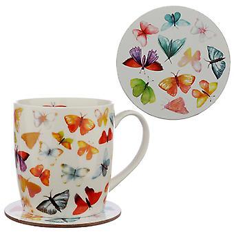 Puckator Butterfly House Mug and Coaster Set
