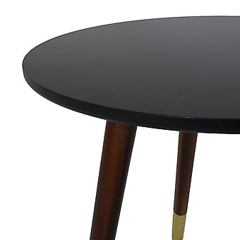 Charles Bentley Black Side Table with Gold Feet Round Coffee Table Coffee Sofa End Bedside Stand Embossed Scandi
