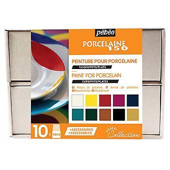 Pebeo Porcelaine 150 Collectie Set 10 x 45ml en accessoires