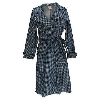 Laurie Felt Women's Classic Denim Houndstooth Trench Coat Blue A385644