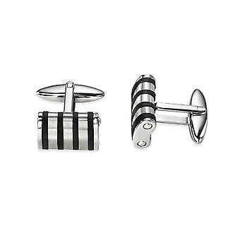 Fred Bennett Men's Jewellery Collection Stainless Steel Black Rubber Lines Cufflink