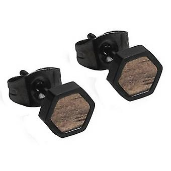 Boucles d'oreilles BeWooden Apis Nox Hexagone - Noir/Brun