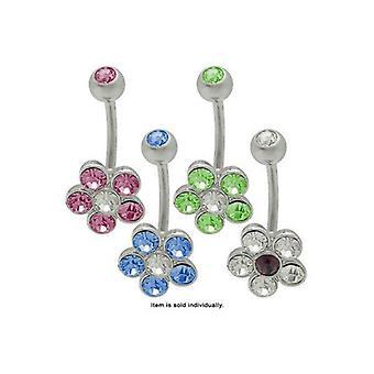 Cz gem flower navel ring