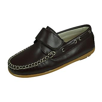 Angela Brown Finlay Boys Leather Boat Shoes Hook and Loop - Brown
