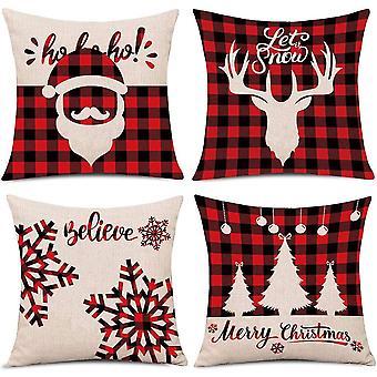Fire røde jule firkantede pudebetræk