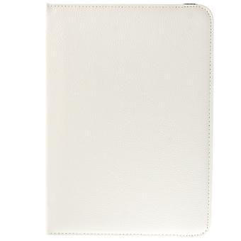 360 Degree Rotatable Litchi Texture Leather Case with 2-angle Viewing Holder for Galaxy Tab 4 10.1 / SM-T530 / T531(White)
