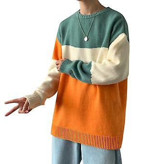 Yunyun Men's Contrast Stitching Striped Crew Neck Pullover Knit Casual Sweater