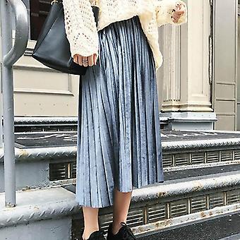 Spring Women Long Metallic Maxi Pleated Skirt Midi High Waist Elasticity Casual