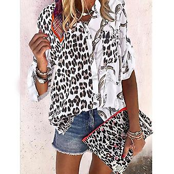Women Blouse Sping Tops Turn-down Collar Long Sleeve Leopard Shirt