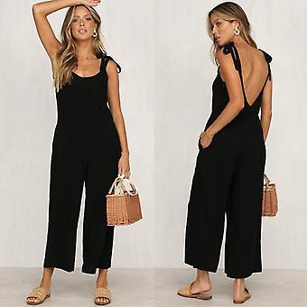 Summer/autumn Fashion Casual Loose Linen Cotton Jumpsuit Sleeveless Backless