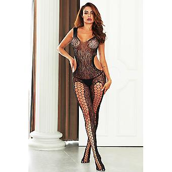 Pothole Cut Out Swirl Lace Body Stocking