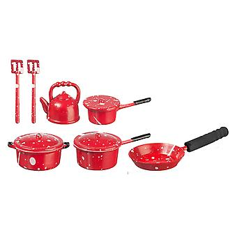 Puppen Haus red Spot Saucepan Pan Set & Wasserkocher Küche Zubehör