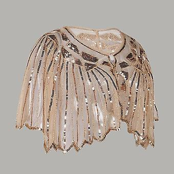 Vintage Flapper Sjaal, Pailletten Kralen Short Cape Mesh Cover Up Jurk