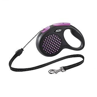 Correa de cable perro Flexi diseño, tamaño medio 5m, color de rosa
