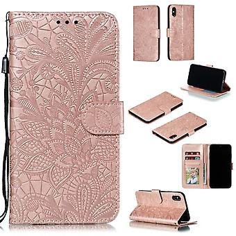 Samsung Galaxy A20e Multifunctionele Flower Flip Cover - Roségoud