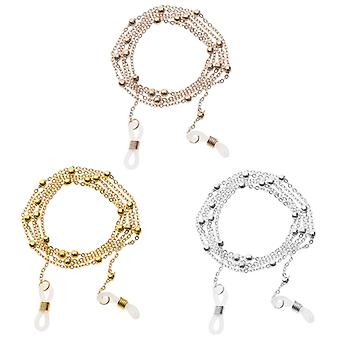 Plated Metal Glasses Chain, Reading Glasses Lanyard Hold Straps 3pcs