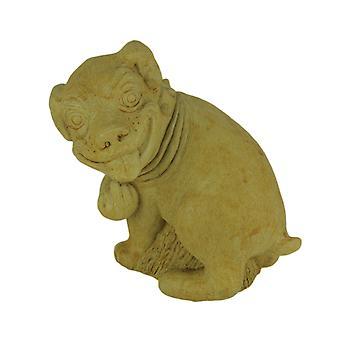 Designer Stone Harvest Yellow Pooping Dog Yard or Garden Statue