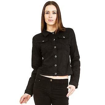 Fitted Stretch Denim Jacket - Black