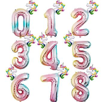 Rainbow Number Foil Balloons For Birthday Party Decorations