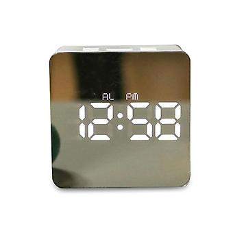 Led Alarm Clock, Multi-function, Electronic, Mirror Digital Temperature, Snooze