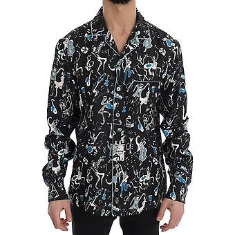 Dolce & Gabbana Black Silk Jazz Motive Print Casual Shirt