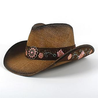 Straw Western Cowboy Hat And  Summer Elegant Lady Cowgirl Sombrero Caps With