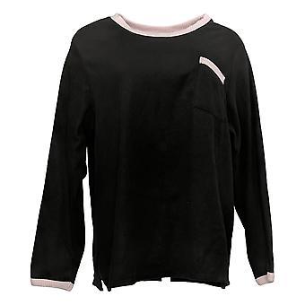 Cuddl Duds Women's Pajama Top Plus Reg Fleecewear Stretch Black A399347