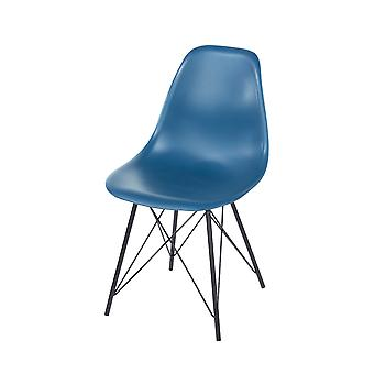 Penny navy blue plastic chairs with black metal legs (pair)