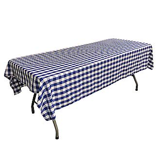 La Linen Polyester Gingham Checkered 60 By 102-Inch Rectangular Tablecloth, White And Royal Blue