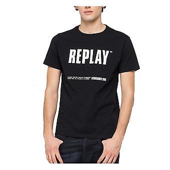 Replay Jeans Replay Mens Chest Embossed Logo T-shirt Shirt Black