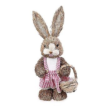 "14"" Artificial Straw Bunny Standing Rabbit With Carrot Home Garden Decoration"