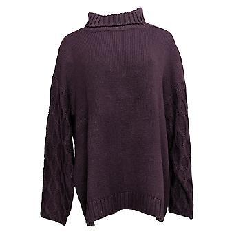 G By Giuliana Women's Sweater Plus Textured Slv Turtleneck Purple 727012