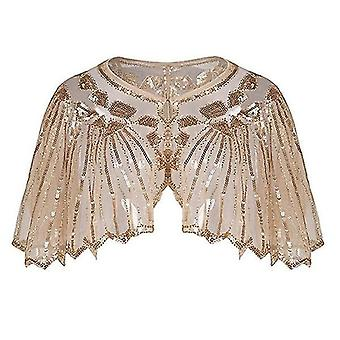 Vintage années 1920 Sequin Mesh Shiny Scalopped Poncho Pour Femmes