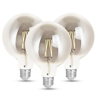 WiZ LED G125 Smart Filament Bulb Smoky ES (E27) Tuneable White & Dimmable, 3 Pack