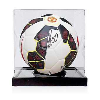 Paul Scholes Signed Manchester United Football White. In Display Case