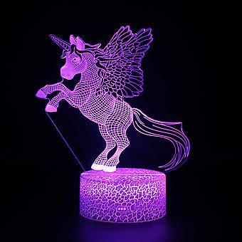 3D Illusion Lampa 7 kolory Optyczna zmiana Touch Light USB i pilot art deco Make A Romantic Atmosphere Christmas Valentine's Birthday Gift -Unicorn #74