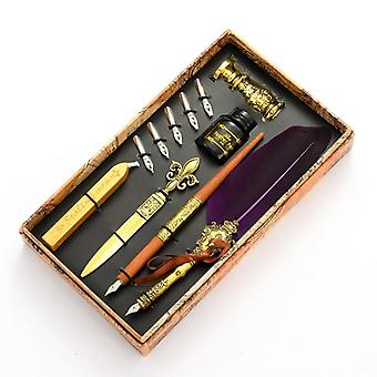 Vintage Quill Feather Dip Pen, Fountain Writing Ink  Nibs Seal Wax