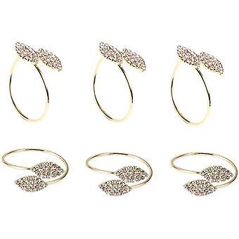 Wokex Serviettenringe, Gold Serviettenringe Halter Strass Diamant Serviettenringe Blattform