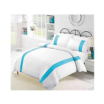Amsons Emilia Turquoise Cotton Sateen Embroidered Quilt Cover Set