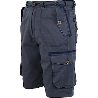 Duke D555 Mens Invicta Big Tall King Size Cotton Cargo Summer Shorts - Navy