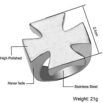 Knights templar ring plain silver cross