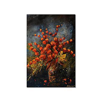 Het schilderen vaas oranje bloemen