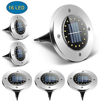 Pack of 6 solar garden lights outdoor 16 led waterproof ip65 for cold white lawn pathway dt7171