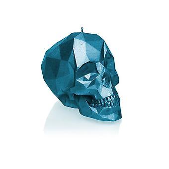Blå metallisk stor låg polyskalle