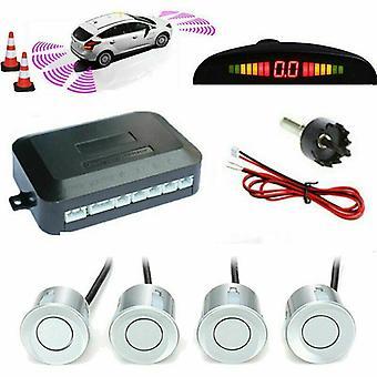 Kabalo Silver trådbunden parkering bakre omvänd 4 sensorer Kit Buzzer Radar LED Display Audio Alarm ...