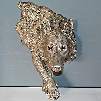 antikk sølv stor ulv vegg kunst